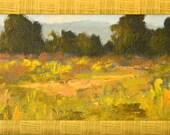 Spring at Baylands - California landscape plein air 12x6 oil painting rectangular