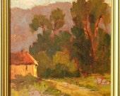 Arastradero House - California landscape plein air 11x11 oil painting square