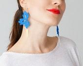 Claera Blue Earrings Statement Earrings Lace Earrings Boho Earrings Long Earrings Leaf Earrings Fashion Earrings Gift For Her