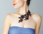 Lasata Off Black Necklace Lace Necklace Statement Necklace Lace Fashion Floral Necklace Women Accessory Gift For Her Woman Fashion