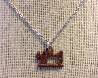 "14"" Hand-Painted Silver Sewing Machine Necklace"
