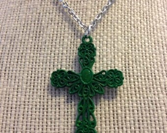 "24"" Green Cross Necklace"