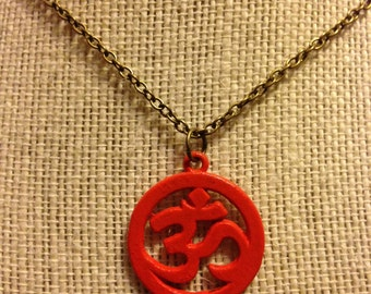 "20"" Orange OM Pendant Necklace"