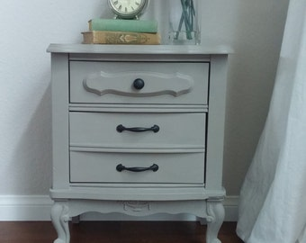 SOLD*********************Vintage French Provincial Grey Nightstand-Vintage Furniture