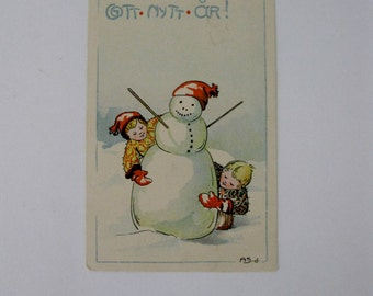 Adina Sand - Artist Signed Post Card - Snowman and Children - Happy New Year - Used - 1913