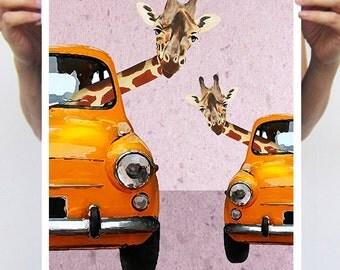 Giraffes in a car : Art Print Poster A3 Illustration Giclee Print Wall art Wall Hanging Wall Decor Animal Painting Digital Art