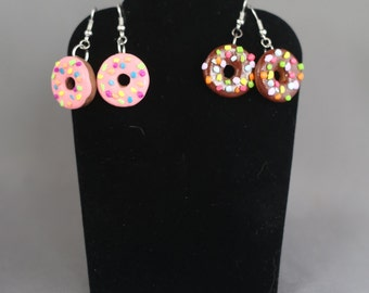 Donut Earrings with Frosting and Sprinkles