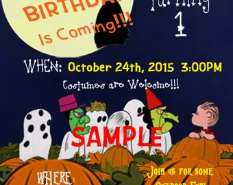 Great Pumpkin Charlie Brown Inspired Birthday Invitations