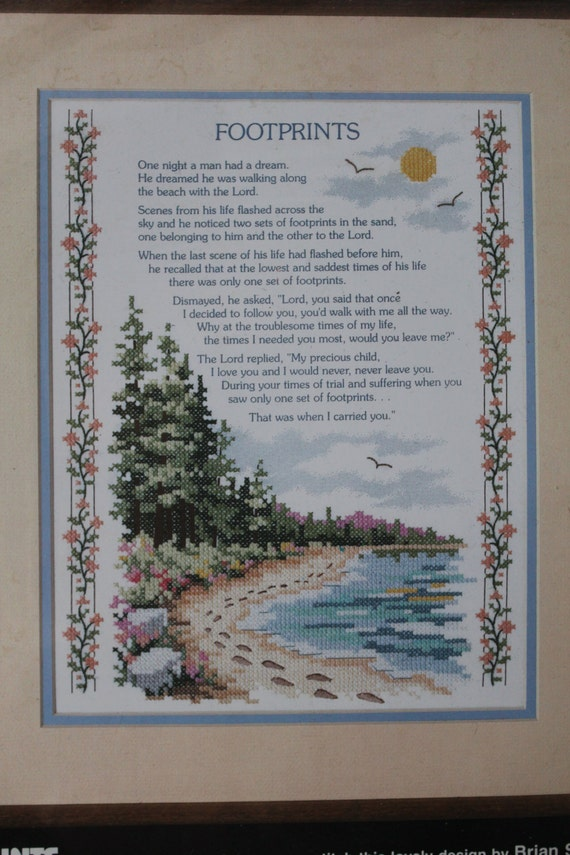 Stamped Cross Stitch Kit Footprints In The Sand By Dimensions