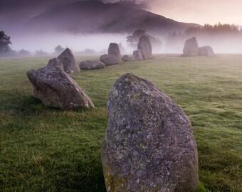 Lake District Landscape Nature Photography. Ancient Stone Circle Monument, England. Print.