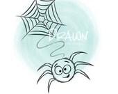 Spider and Web Halloween Image, Digital Stamp/ KopyKake Image/ Coloring Book Image