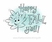 Happy Fall Y'all Leaf, Fall Image, Digital Stamp/ KopyKake Image, Coloring Book Image, Embroidery Design