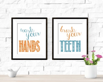 Brush Your Teeth Wash Your Hands Kids Bathroom Printable Artwork Set - 8x10 Digital Download