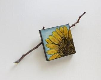 Mini painting, acrylic painting, yellow sunflower, modern sunflower art, miniature art, nature painting