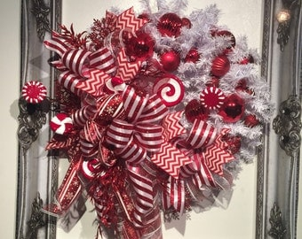 Red and White Candy Holiday Christmas Wreath