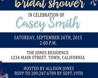 Floral Stripe Bridal Shower Invitation (digital file)