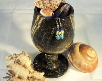Lapis Lazuli, Citrine and Aquamarine Earrings