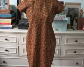 Vintage 1950s-1960s autumn rose cheongsam dress