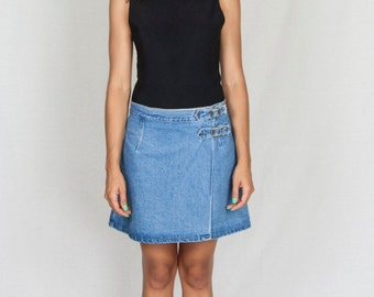Vintage 90s Skirt/ 90s Denim Mini Skirt/Small