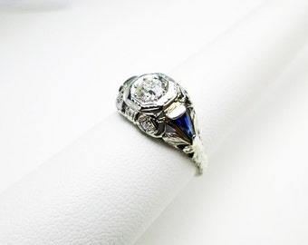 Antique Ring 20s Filigree, 18K Gold, 65pt.Genuine Diamond Deco Filigree, w. Sapphires & Blue Sapphire Baguettes, Art Deco, USA., USA.