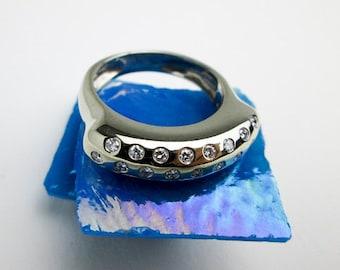 1970s 18K Diamond Pave Ring, 1/2ct. White Gold Wedding Band, Saddle Ring Style, New York Signed Designer, USA.