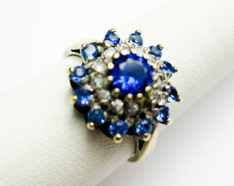 1950s English 9K Rose Gold Princess Ring w. Sapphire Blue & White Swarovski Crystals, Hallmarked.