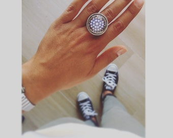 Polka dots Ring Silver Classy Handmade Jewelry Photo Ring