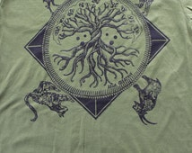 Norse Mythology tee - Tree of life shirt - Bear, Stag, mountain goat and lynx. Midgard Serpent. Black screenprint on 13 soft T-Shirt colors.