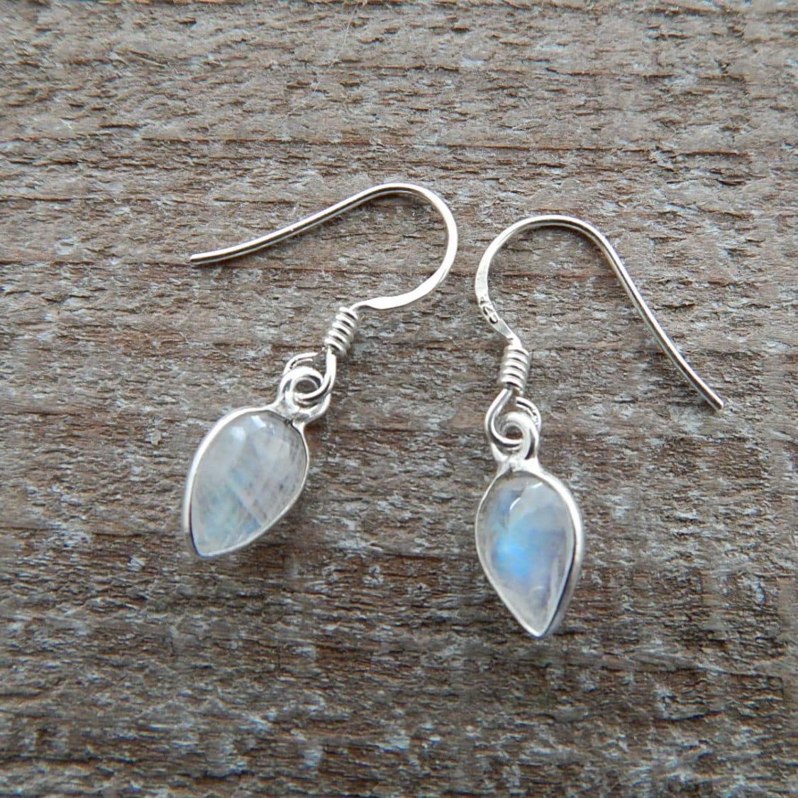 Rainbow Moonstone Earrings Teardrop Earrings Drop Earrings