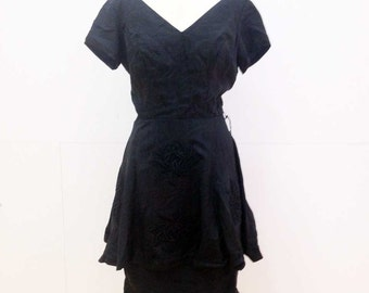 Vintage 30s 40s Black Dress with Applique