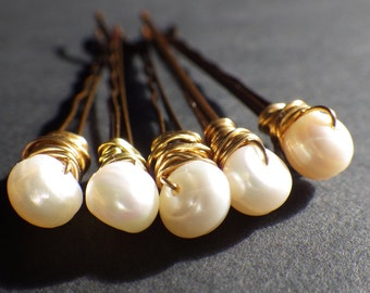 Ivory White Freshwater Pearls- Bobby Pins- Hair Pins- Set of 5- Hair Style- Fashion Accessory- Wedding- Bride- Gift for Her- CassieVision