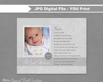 Personalized Baptism Gift for Godparents, Godmother, Godfather with baby's photo.  DIGITAL PRINTABLE FILE.  Poem from Godchild.