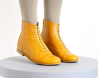 Yellow Leather Booties shoes, flat Boots, mid calf, handmade, womens, adikilav  free shipping