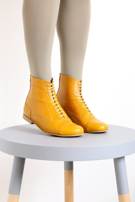 yellow leather booties shoes flat boots mid calf handmade