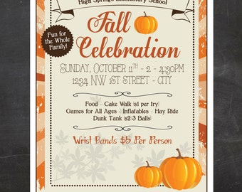 Fall Festival Flyer - School or Church (or any organization) - Event Custom Printable - color or black and white