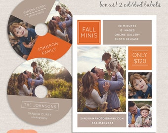 Fall mini session template marketing board plus 2 cd/dvd labels MFS003