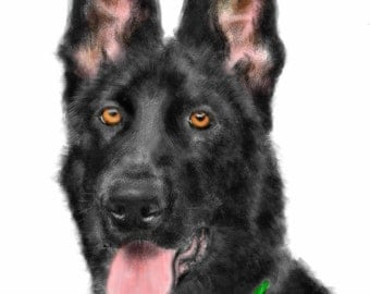 Custom Dog Portrait, pet portrait, custom portrait, dog memorial,  Dog art, dog lover, German shepherd, art print, dog, pet