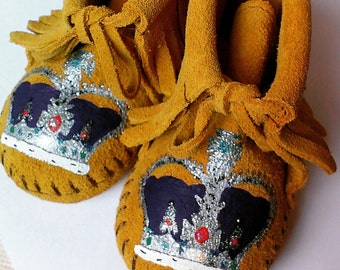 Queen Elizabeth Imperial Crown God Save the Queen Baby Moccasins