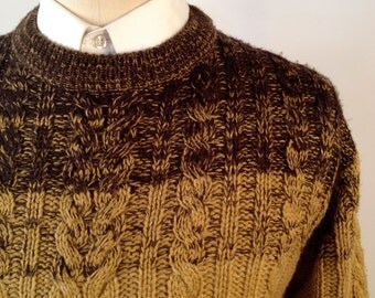 Vintage Ombre Cable Knit Sweater by Oleg Cassini Size Medium