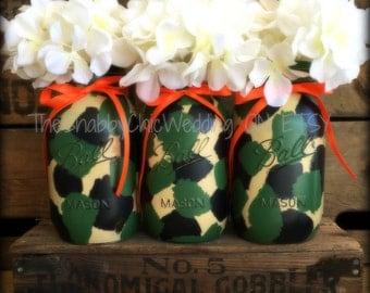 Camo Mason Jars, Camouflage Vases, Hand Painted Camo Mason Jars, Camo  Wedding Centerpieces