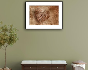 Home Decor Wall Art, Rustic Entry Decor, Housewarming Gift, Heart Wall Decor Print