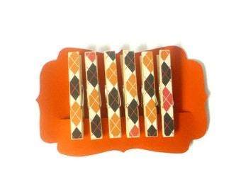 Decorative Clothespins--Halloween Plaid