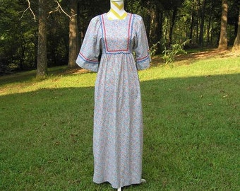 1970s Vintage Peasant Hippie Calico Maxie Dress by Gilead, Red & Blue Rick Rack Trim, Floor Length, Kimono Sleeves, Small, Vintage Clothing