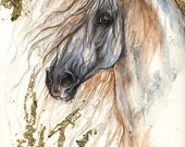 Andalusian horse, equine art, horse portrait,  original gilded pen and watercolour painting