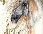 Andalusier, equine Kunst, Pferd Porträt, original vergoldeten Stift und Aquarell-Malerei