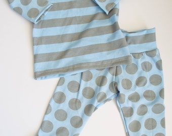 Blue grey dot and striped outfit