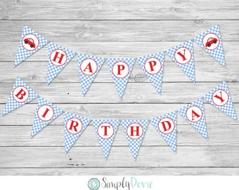 Little Red Car Birthday Banner / Printable / DIY / Boy's Birthday Party