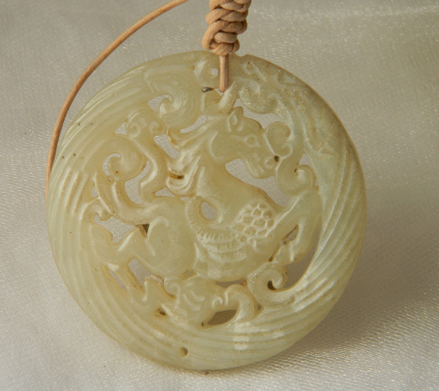 Jade Horse Pendant W Leather Cord Necklace Beaded Jewelry