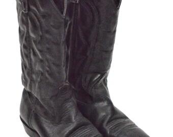 Vintage 80s Capezio Western Motorcycle Rocker Black Leather Boots