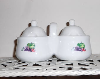 Vintage Jam & Jelly relish server white ceramic No. 31237 Produced For Houston Harvest Gift Product LLC 1980s Country kitchen